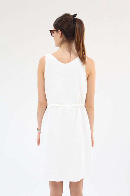 Beklina Hoda Tie Dress Textured Silk White