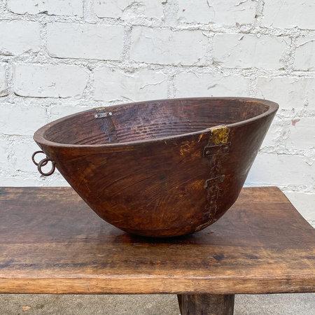 Made Solid Large Antique Wooden Fulani Milk Bowl