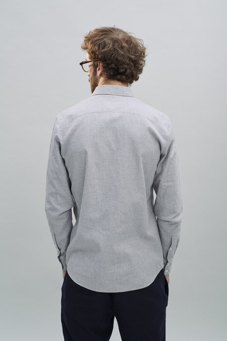 Delikatess AW 20/21 Feel Good Fine Italian Brushed Cotton Flannel Shirt - LIght Grey