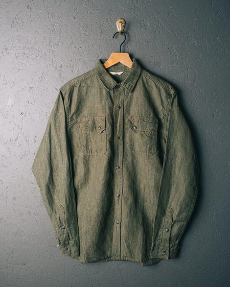 3sixteen Crosscut Western Cotton/Linen Denim Shirt - Green