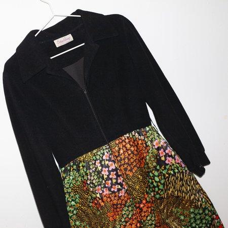 Kintsugi Velvet and Quilt Dress - Multi