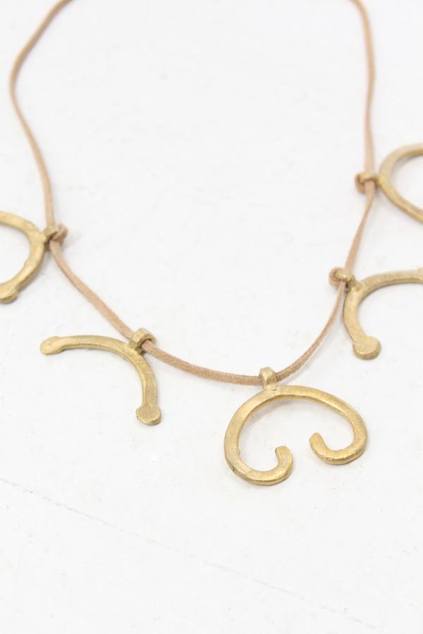 Osei Duro Blossom Necklace Brass & Leather