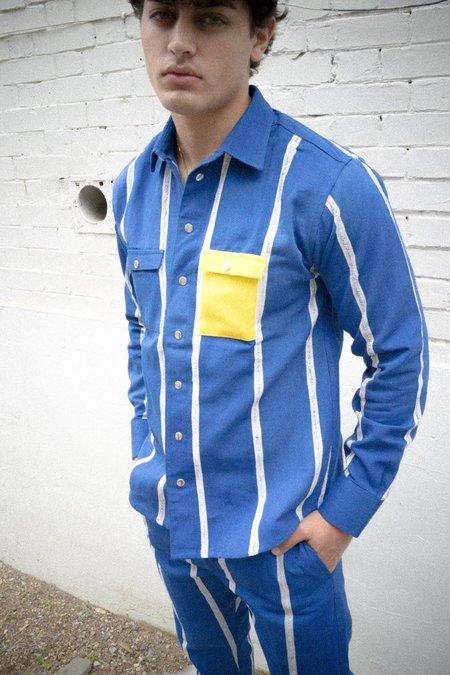 Kente Gentlemen JoJo II Shirt - Blue/White
