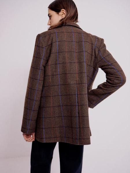 Mijeong Park Plaid Tailored Jacket - Brown Plaid