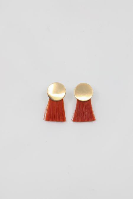 Anna Monet Mini Iris Earring - Orange Madder