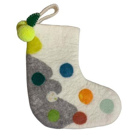 Midos Tail Hand Felted Christmas Stocking Small With Yellow Pompoms - Cream