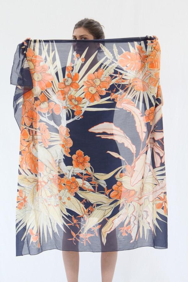 SWASH Silk & Cotton Scarf Amazonia Navy