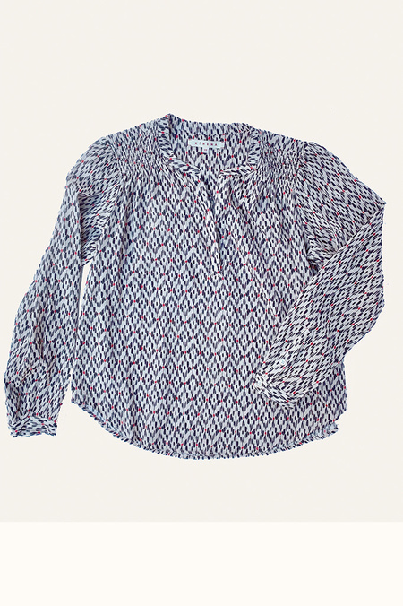 Xirena Aimi Open Collar Print Top - Chalk