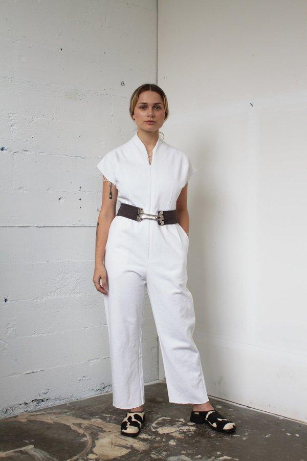 Alexa Stark white denim jumper