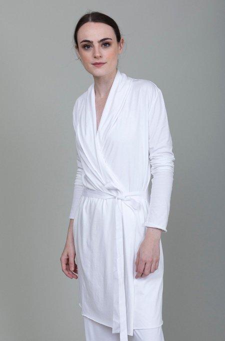 Skin Double Layer Wrap Robe - White