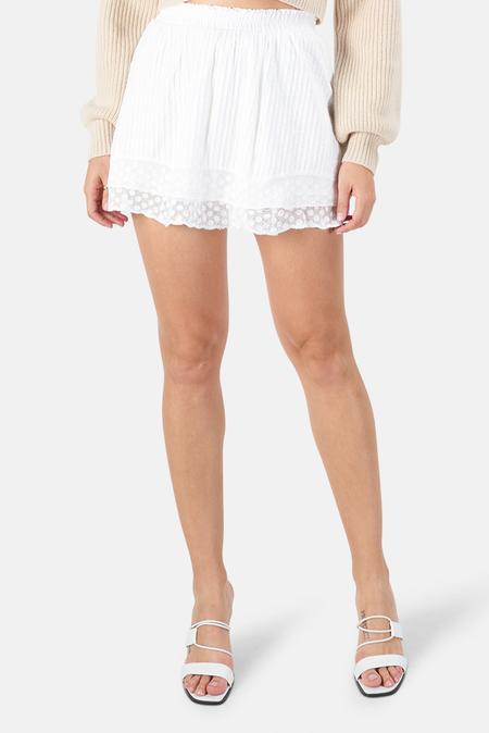 LoveShackFancy Toya Skirt - White