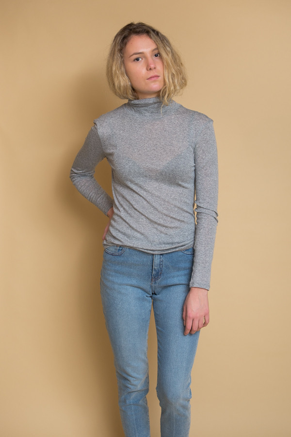 Just Female Riz Rollneck - Grey Melange