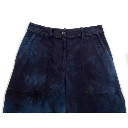 Raquel Allegra Painters Pant - Dark Indigo Tie-Dye