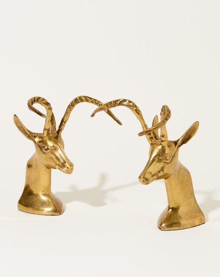 Vintage Gazelle Bookends - Brass