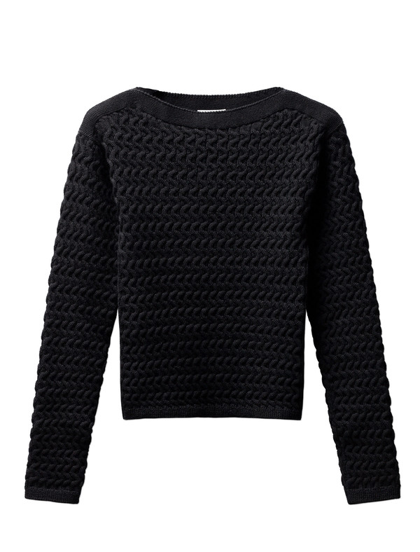 Lemaire Fitted Cable Knit Sweater - Black