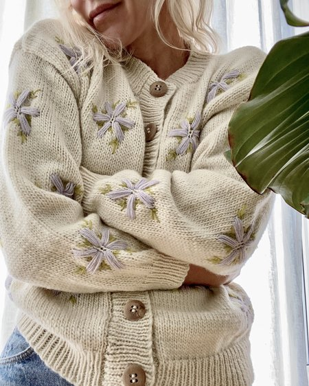 TACH CLOTHING Lucero Wool Embroidered Cardigan - Cream