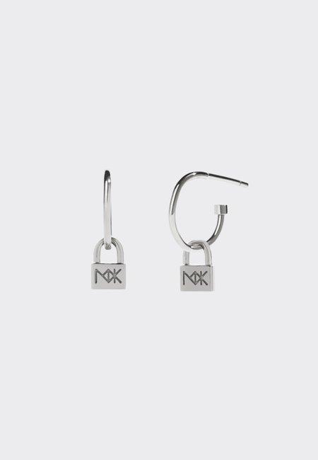 Meadowlark Micro Lock Signature Hoops - silver