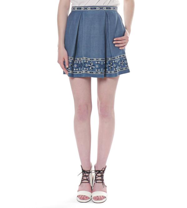 Sea NY Denim Pleated Skirt