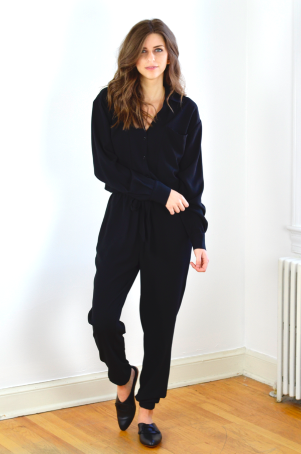 FRAME Denim Crepe Jumpsuit in Noir