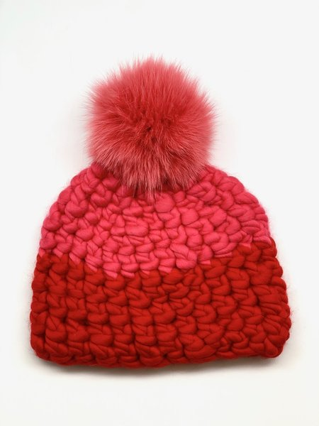 Mischa Lampert XL pom store candy color block beanie - coral/tomato