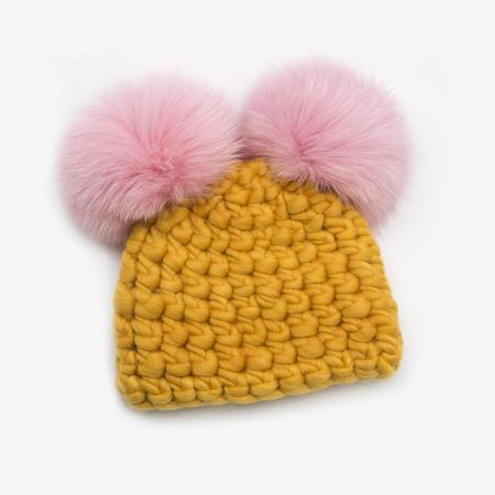 Kids Mischa Lampert XL poms mickey  baby beanies -  Pink/Marigold