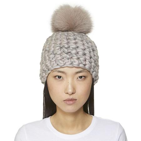 Mischa Lampert XL pomster  mix blend beanie - Taupe/pompewter/grey
