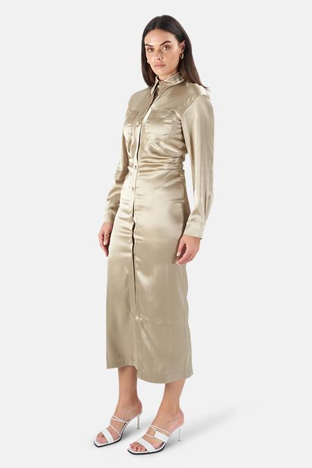 Nanushka Kinsley Shirt Dress - Sage