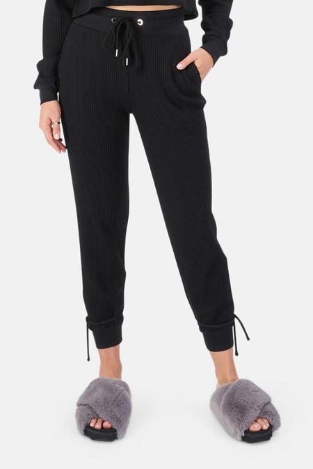 The Range Waffle Knit Joggers Pants - Jet Black