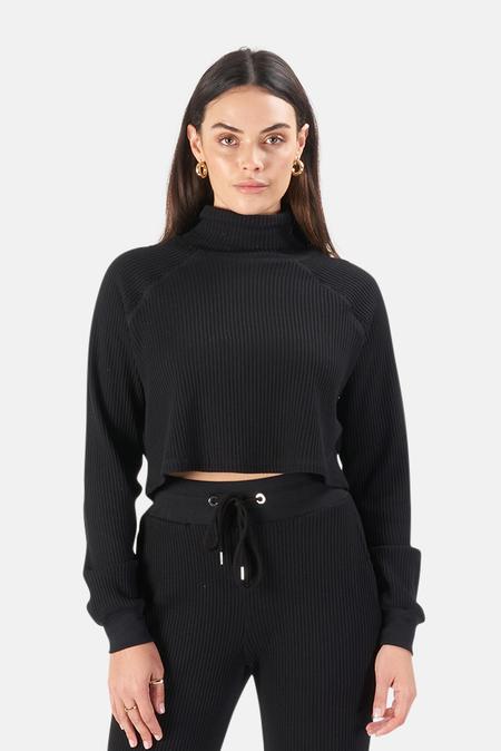 The Range Waffle Knit Crop Turtleneck Sweater - Jet Black