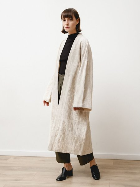 Priory Fan Robe - Natural Jacquard Cream