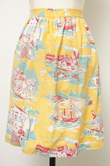 Vintage Apron - Yellow Sailboat Print