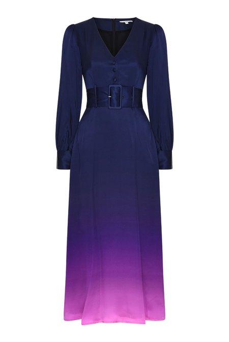 Olivia Rubin Victoria Dip Dye Silk Dress - Navy