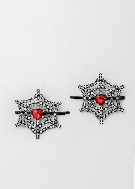 Ashley Williams and Red Crystal Cobweb Heart Hairpin - Clear