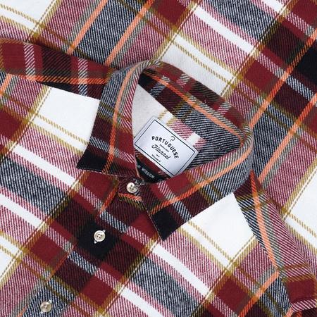 Portuguese Flannel Burgundi Check Flannel Shirt - Burgundy/White