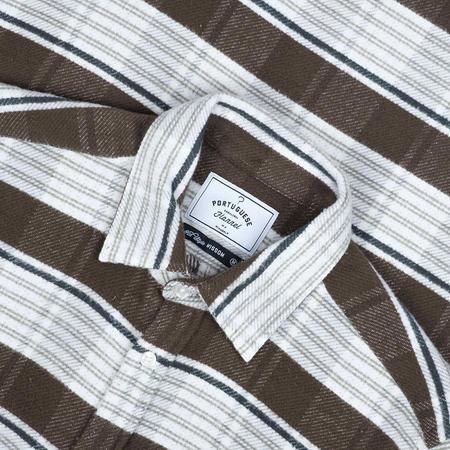 Portuguese Flannel Moss Stripe Blanket Flannel Shirt - Moss Green