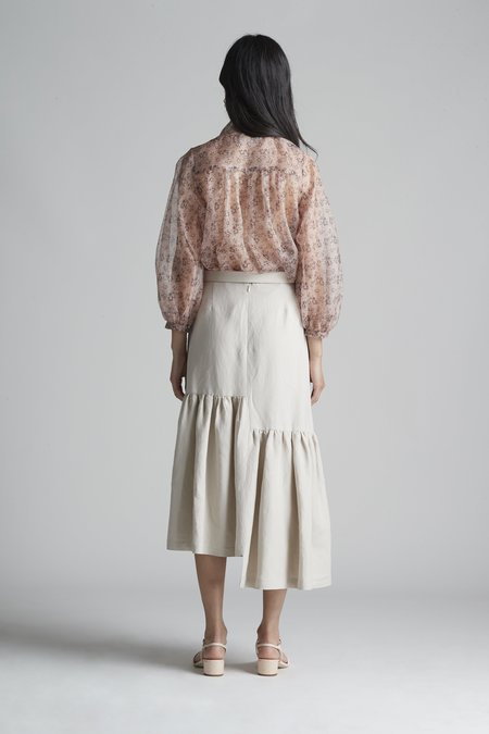 Christine Alcalay Tie Neck Blouse with Blouson Sleeve in Silk Organza