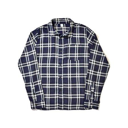 Pure Blue Japan Indigo Check Flannel LS Shirt - Indigo/White