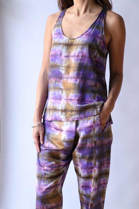 Raquel Allegra Tank - Plaid Print Tie Dye