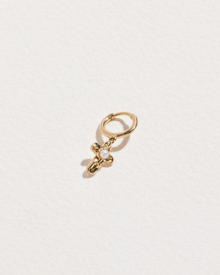 Pamela Love Piercing Jasmine Pearl Cross Huggie Earing - 14k yellow gold