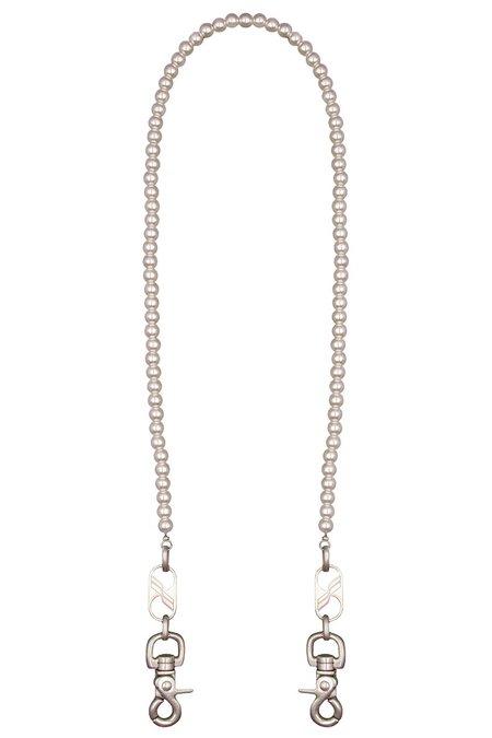 we11done Logo Pearl Key Chain - Silver