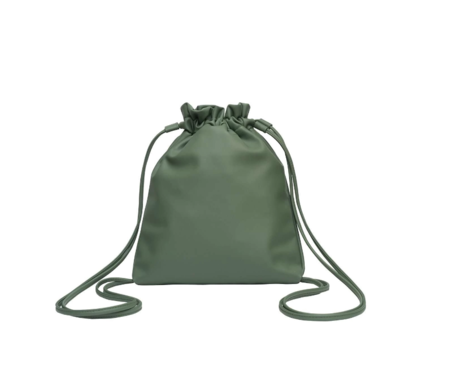 hozen collection Vegan Backpack  Leather Cinch in Frog Hozen Collection Bag - Olive Green