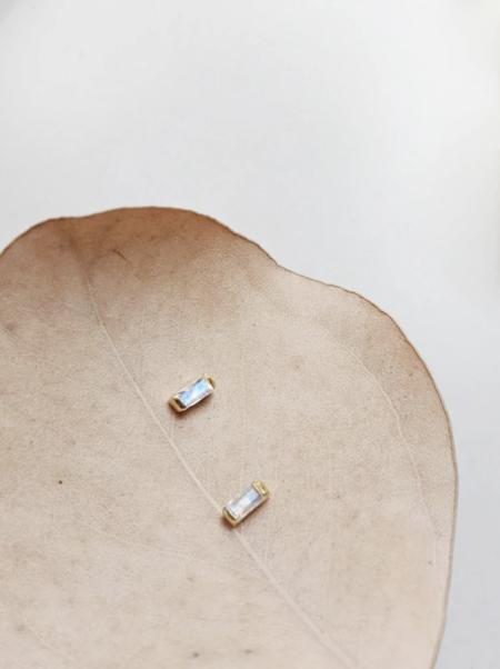 MERAKI BOUTIQUE Stud Little Gold Moonstone Turquoise Magic Eye Earrings - Sterling Silver