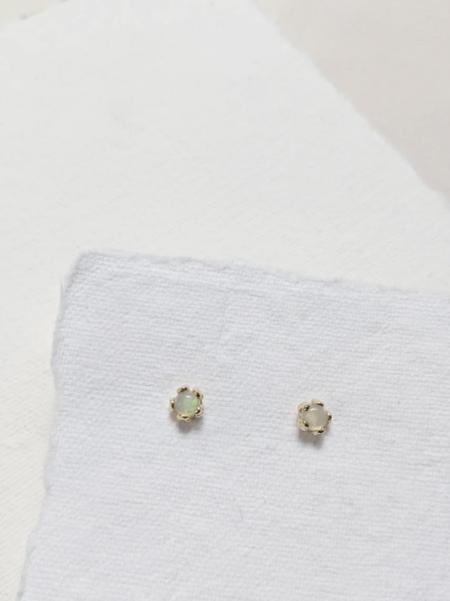 MERAKI BOUTIQUE Little Tiny Opal Flower Earrings - Gold