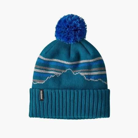 Patagonia Powder Town Fitz Roy Retro Stripe Knit Beanie - Crater Blue