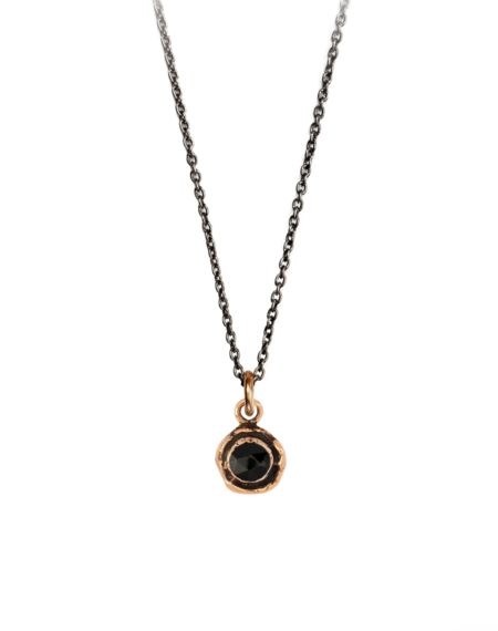 Pyrrha Onyx Faceted Stone Talisman - Black/Bronze