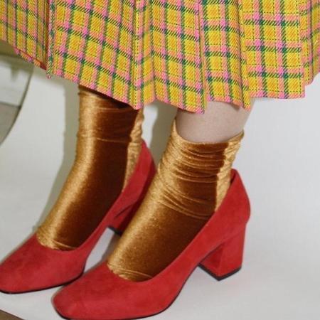 Simone Wild Velvet Socks - Gold