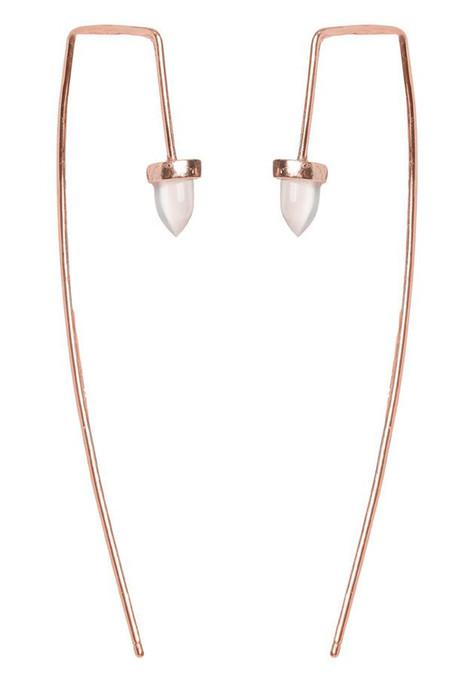 Bing Bang NYC Long Gemstone Bullet Threader in Rose Quartz