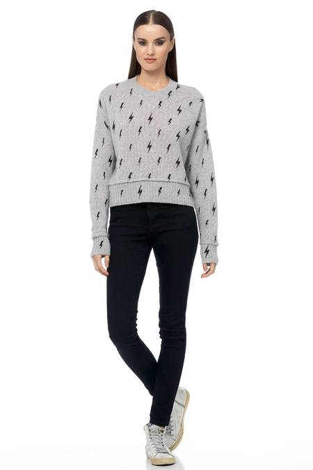 360 Cashmere Indra Sweater - Light Heather Grey/Black