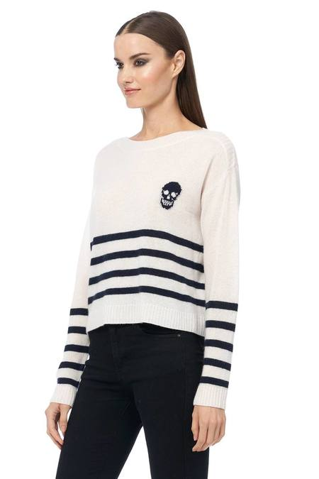 360 Cashmere Spencer Sweater - Chalk/Navy