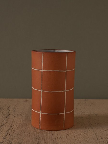 The Pursuits of Happiness Grid Vase - Warm Orange